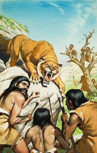 Old Stone Age people hunt a sabre-toothed tiger